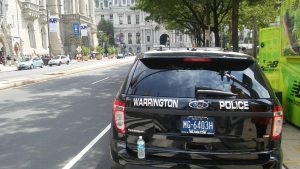 A Warrington police car in Center City, Philadelphia. Credit: Tom Sofield/NewtownPANow.com
