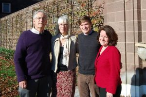 Bucks County Community College Professors Christopher Bursk (left) and Ethel Rackin (right), directors of the Bucks County Poet Laureate Program, have launched the search for the 2016 bard of the county. The winner will take over from 2015 laureate Tyler Kline (second from right) of Chalfont, shown with 2014 laureate Sandra Becker (second from left) of Doylestown. Credit: BCCC