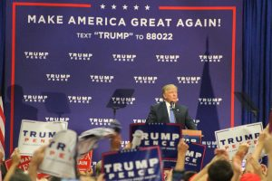 Donald Trump speaking before supporters Friday evening. Credit: Tom Sofield/NewtownPANow.com